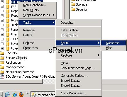 Xóa Log File trong SQL Server 2005