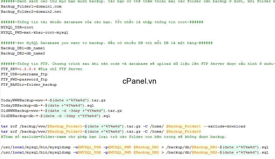 Tự động backup database và sao lưu FTP trên VPS chạy LNMP