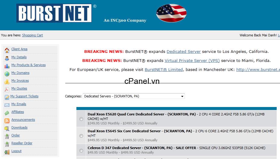BURST.NET – Miễn phí VPS 1 tháng đầu
