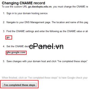 Google yêu cầu tạo CNAME trỏ đến ghs.google.com để kích hoạt dịch vụ