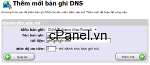 Thêm bản ghi CNAME vào trong hệ thống quản trị DNS của bạn