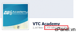 Chỉ số Talking about this trên Fanpage của VTC Academy