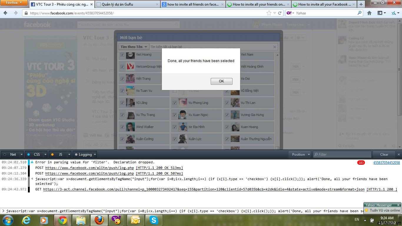 Màn hình hiển thị Invite trên Firefox. Khung Console ở phía dưới của trình duyệt