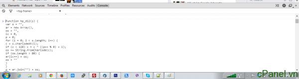 Copy và paste code vào khung console của trình duyệt Chrome hoặc Firefox