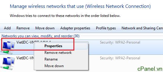 Chuột phải vào tên mạng cần xem và chọn Properties