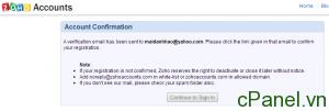 Bạn sẽ cần kích hoạt tài khoản Zoho qua email