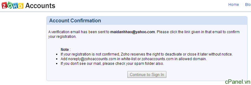 how to cancel zoho mail account