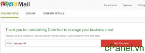 Nhập domain cần cài đặt dịch vụ mail Zoho