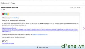 Email xác nhận của Zoho